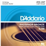 D'Addario Phosphor Bronze 12 String Acoustic Guitar Strings Light