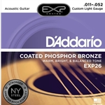 D'Addario EXP Coated Phosphor Bronze Acoustic Guitar Strings Custom Light