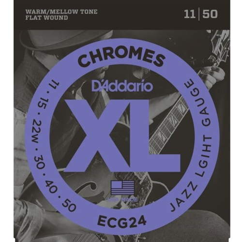 D'Addario Flat Wound Chrome Electric Guitar Strings Jazz Light