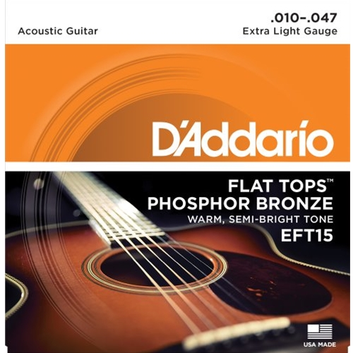 D'Addario Phosphor Bronze Flat Top Acoustic Guitar Strings Extra Light