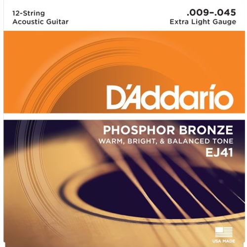 D'Addario Phosphor Bronze 12 String Acoustic Guitar Strings Extra Light